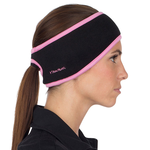 Women's Fleece Ponytail Ear Warmer Headband - Black With Pink