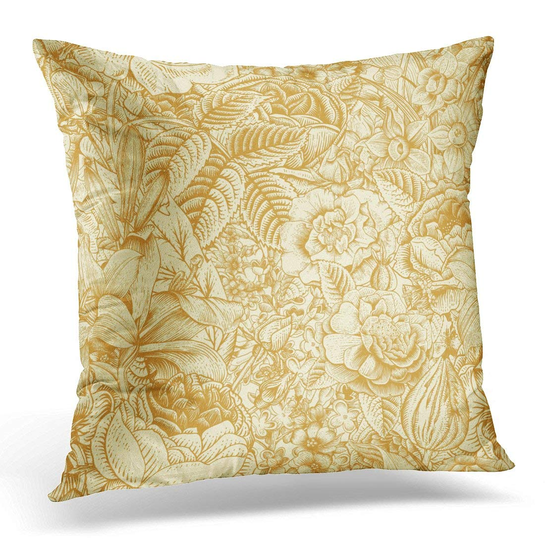 USART Brown Summer Floral Pattern Vintage Flowers Gold on Beige Roses Lilies Daffodils Tulips and Delphinium Pillow Case Pillow Cover 20x20 inch