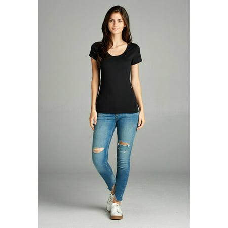 Scoop Neck Short Sleeve Shorts (Women Basic Plain Scoop Neck Short Sleeve T-Shirt Stretch Tee)