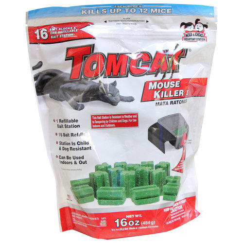 Tomcat Mouse Killer I Refillable Bait Station with 16 Bait Refills, 16 oz