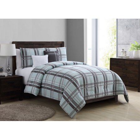 . VCNY Home Gray Teal Maxwell Plaid 4  5 Piece Bedding Comforter Set   Decorative Pillows Included