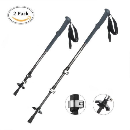 2pack Hiking Stick, GVDV Telescopic Sticks Walking Stick Easy and Adjustable Trekking Pole made of Aluminum Alloy with... by Hapurs Inc