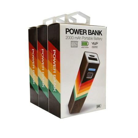 GEMS Power Bank 2000 mAH Portable Battery - 3 Pack, Multicolor Design
