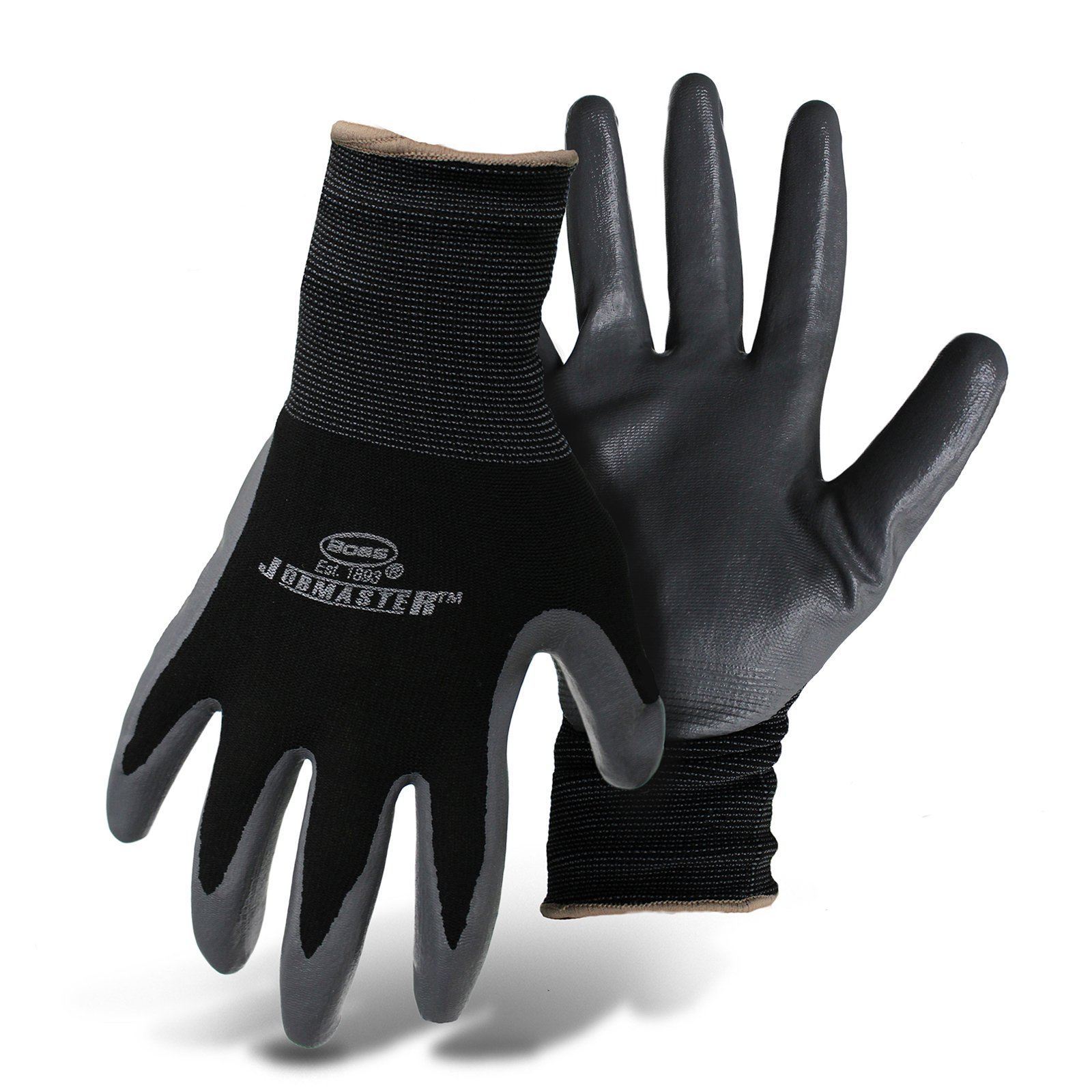 Boss Gloves 8442XL X-Large Black and Gray Nylon With Nitrile Coated Palm Gloves