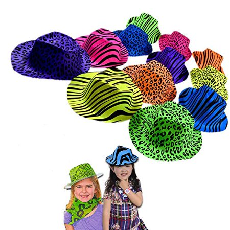 Ganster Hats (Original Gangster Hats - Cool Plastic Neon Vintage Animal Pattern Gangster's Hats 24 Pack for Kids and Adults BBQ's | Birthdays | Concerts - Trendy Multicolored Novelty Rave Hats with)