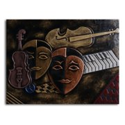 Masked Trio Leather Wall Art - 32W x 24H in.
