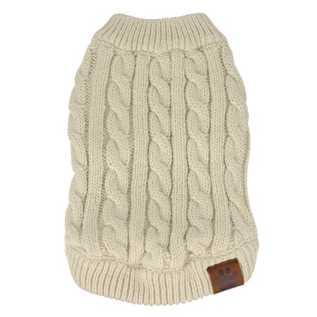 C.C Pet Solid Ribbed Cable Knit Pullover Winter Clothes Dog Sweater-Beige-XS