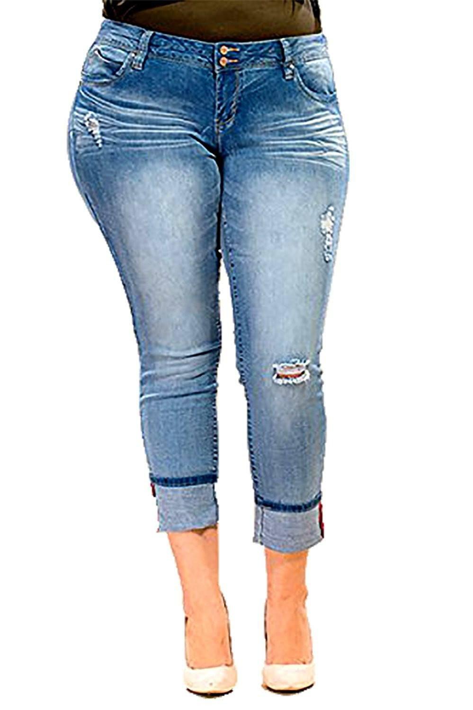 f2be1114eee YMI Plus Size WannaBettaButt 2-Button Mega Cuffed Skinny Jeans - Walmart.com