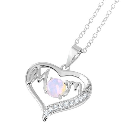 White Simulated Opal With Cubic Zirconia Heart Mom Necklace Rhodium Plated Sterling Silver