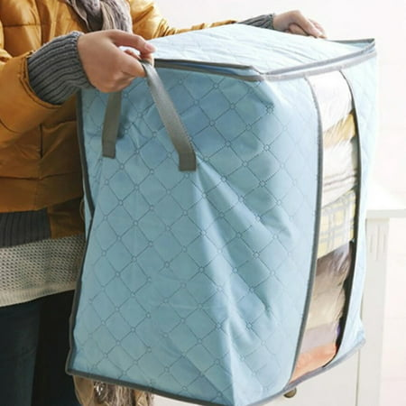 SUPERHOMUSE Clothing Storage Bag Quilt Blanket Sweater Container Organizer Non Woven Underbed Pouches Durable Closet Cabin Storage Box ()