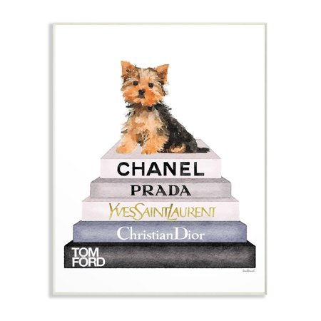 The Stupell Home Decor Collection Book Stack Yorkie Dog Glam Fashion Watercolor Wall Plaque Art, 10 x 0.5 x 15 ()