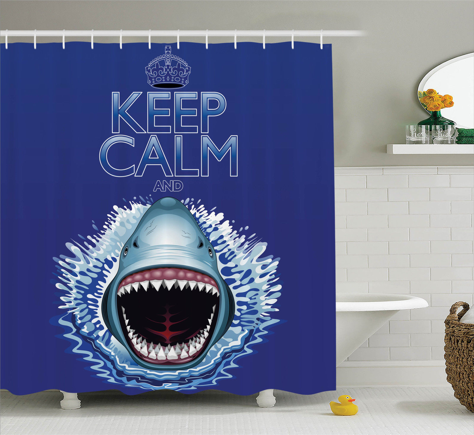 Sea Animals Decor Keep Calm And Shark Jaws Attack Predators Hunter Dangerous Wild, Bathroom Accessories, 69W X 84L Inches Extra Long, By Ambesonne