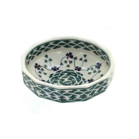 Polish Pottery Sage Floral Small Angular - Angular Bowl