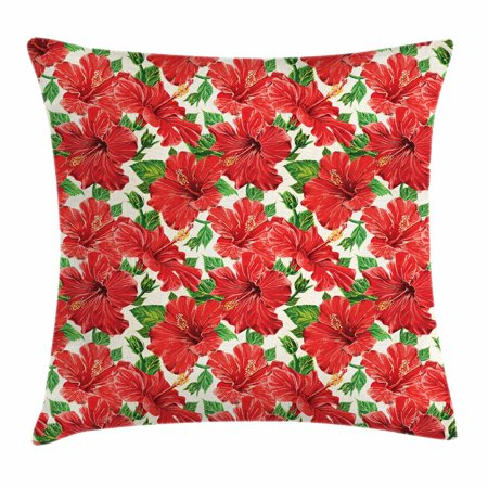 Hawaiian Prom Themes (Hawaii Throw Pillow Cushion Cover, Botanic Inspirations Floral Bouquet Hand Drawn Red Hibiscuses Retro Theme, Decorative Square Accent Pillow Case, 16 X 16 Inches, Beige Fern Green Red, by)