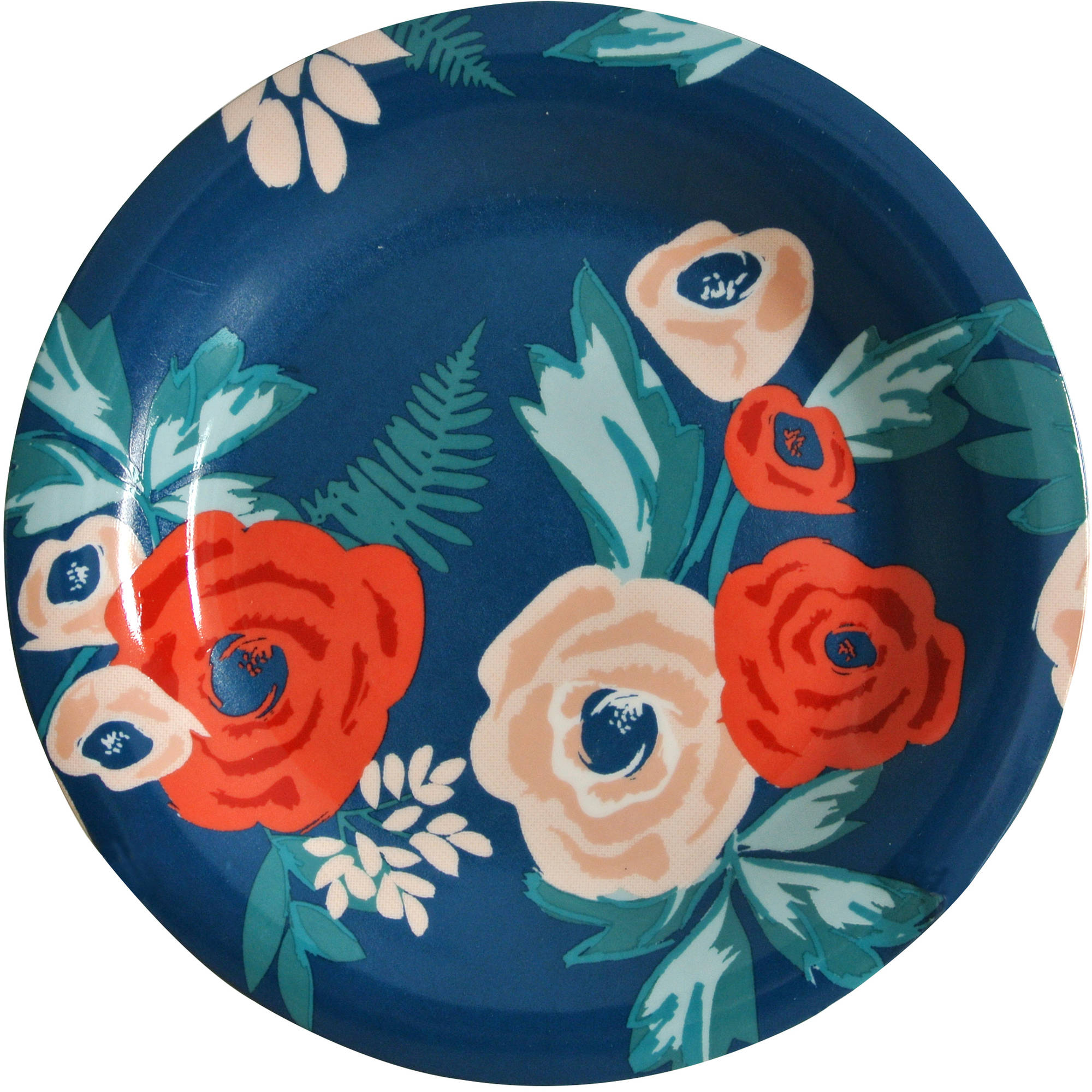 Mainstays Navy Floral 4-Pack Stoneware Salad Plate
