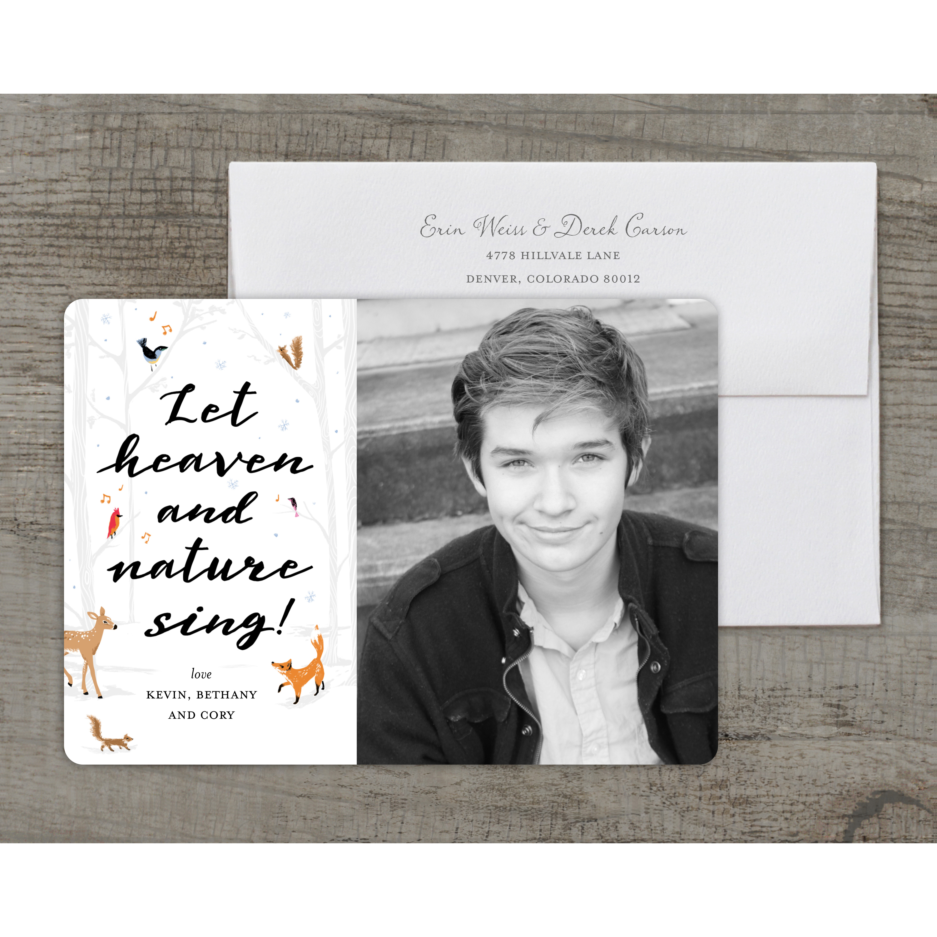 Heaven and Nature - Deluxe 5x7 Personalized Holiday Religious Holiday Card