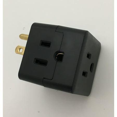 Cable 3 way Grounded Outlet (Black)| Zack Electronics (3 Way Electronic)