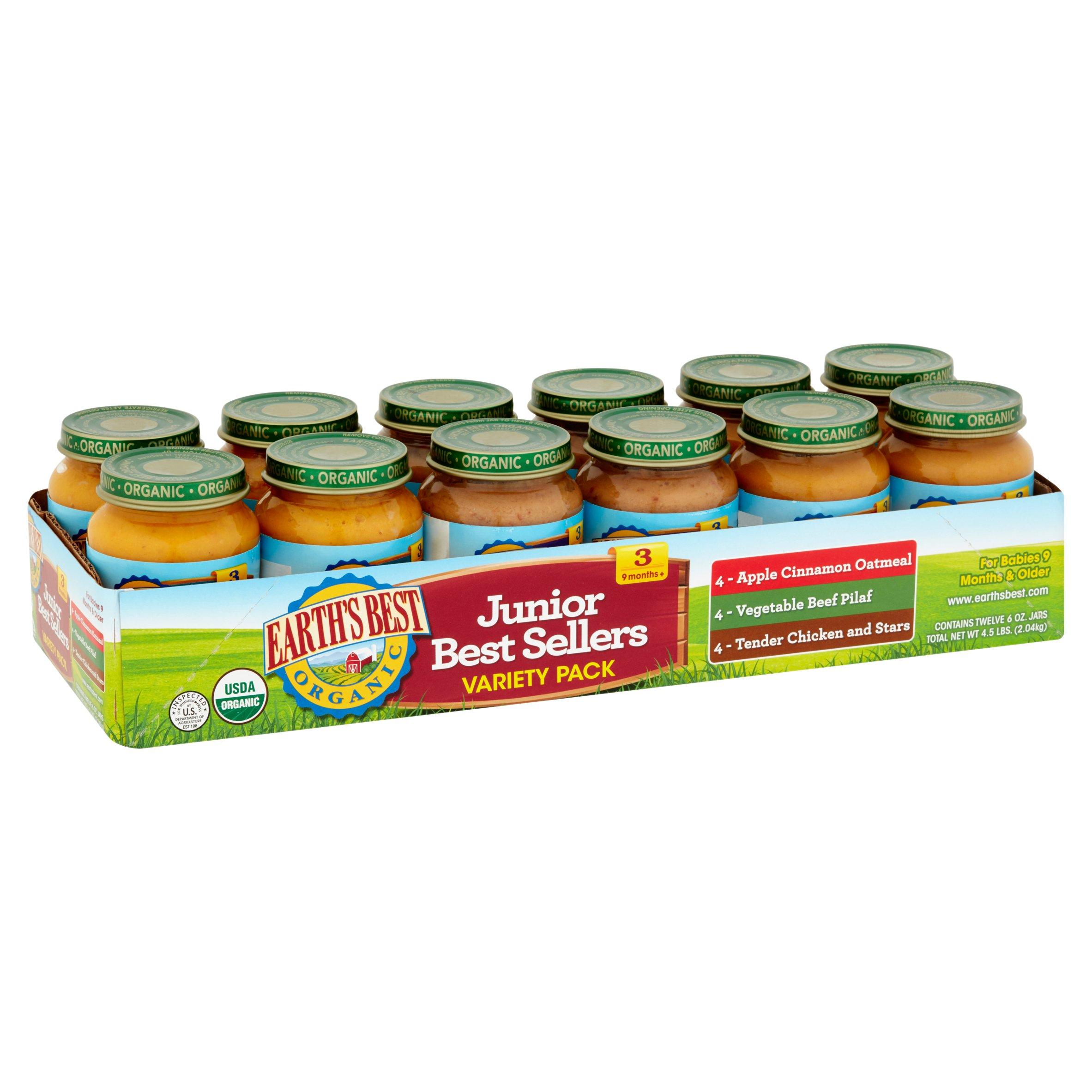 Earth's Best Organic Baby Food Best Sellers Variety Pack Baby Food, 6 oz, 12 count