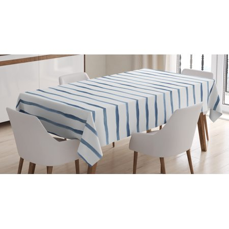 - Harbour Stripe Tablecloth, Abstract Brushstroke Nautical Ocean Horizontal Lines Soft Picture, Rectangular Table Cover for Dining Room Kitchen, 60 X 84 Inches, Night Blue White, by Ambesonne