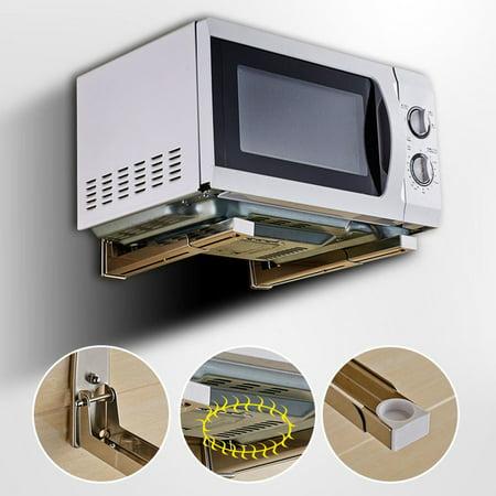 Stainless Steel Microwave Oven Adjustable Wall Mounted Bracket Shelf Holder