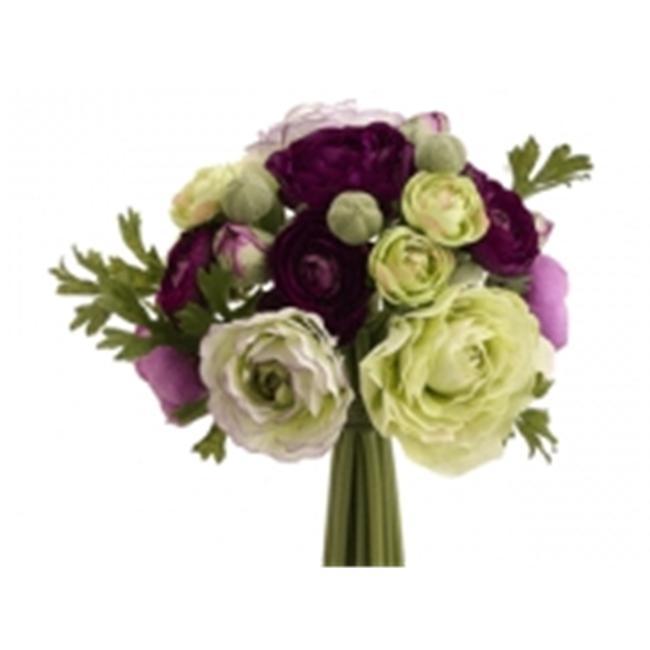 FBQ368-PU-GR 9 in. Ranunculus Bouquet Purple-Green- Pack of 6