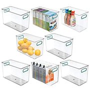 Plastic Food Storage Container Bin with Handles - for Kitchen, Pantry, Cabinet, Fridge/Freezer - Narrow Organizer for Snacks, Produce, Vegetables, Pasta - Food Safe - 8 Pack - Clear/Blue