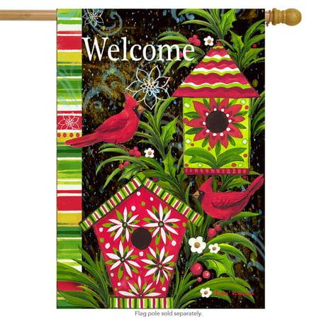 "Birdhouse Christmas House Flag Welcome Cardinals Holiday Birds 28"" x 40"""