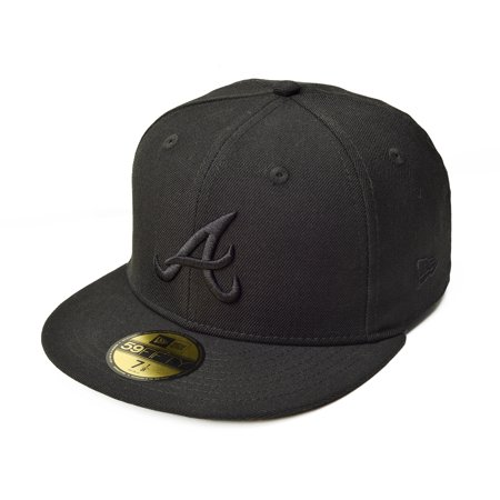 406ad20143f83 New Era Atlanta Braves Black on Black MLB 59FIFTY Fitted Hat ...