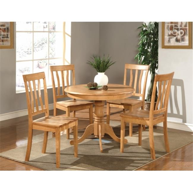 Wooden Imports Furniture AN3-OAK-W 3 PC Antique Round Kitchen 36 inch Table and 2 Chairs with Wood seat in Oak Finish