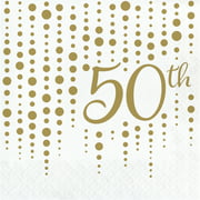 """Club Pack of 192 Gold and White """"50th"""" Printed Square 2-Ply Luncheon Napkins 12.75"""""""