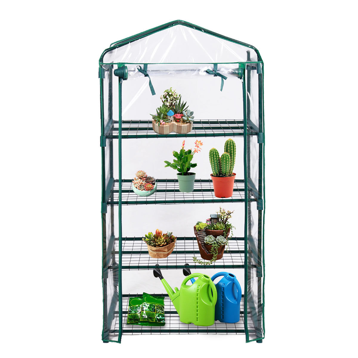 Costway Portable Mini Walk In Outdoor 4 Shelves Greenhouse by Costway