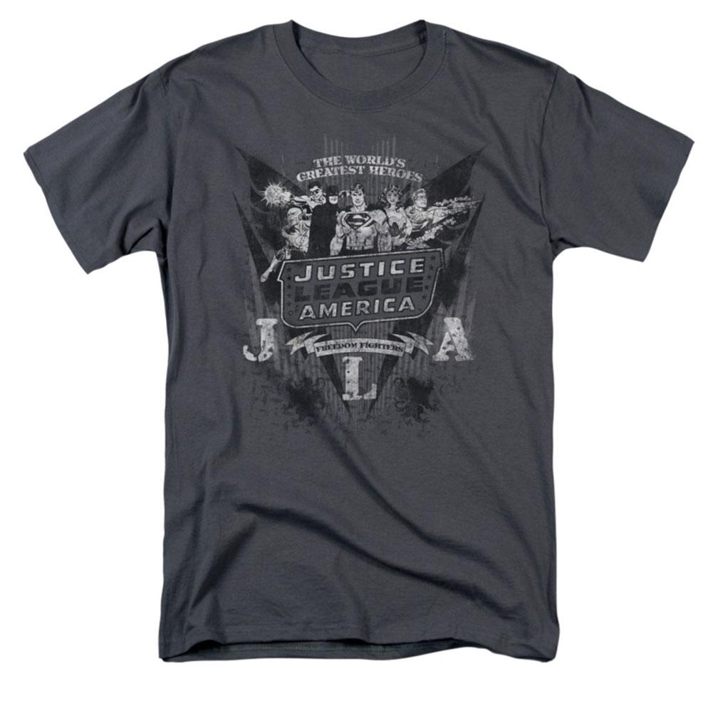DC Comics Men's  Greatest Heroes T-shirt Grey