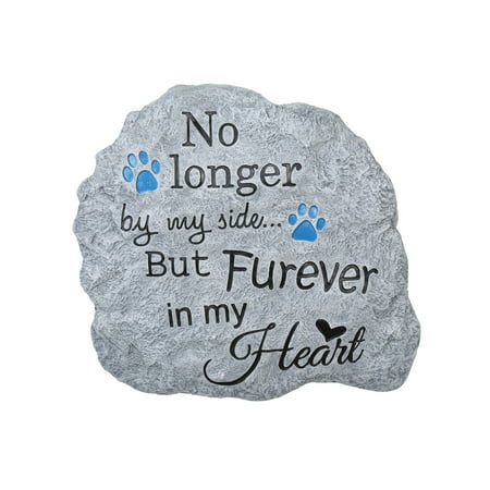 Halloween Headstone Sayings (Pawriffic Pet Memorial Garden Stone Headstone Grave Marker Wall Hanging - Furever in My Heart - Indoor/Outdoor Paw Print Plaque for Dog or)