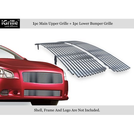 Stainless Steel Billet Grille Combo Compatible with 2009-2014 Nissan Maxima Chrome Polished N19-S47778N