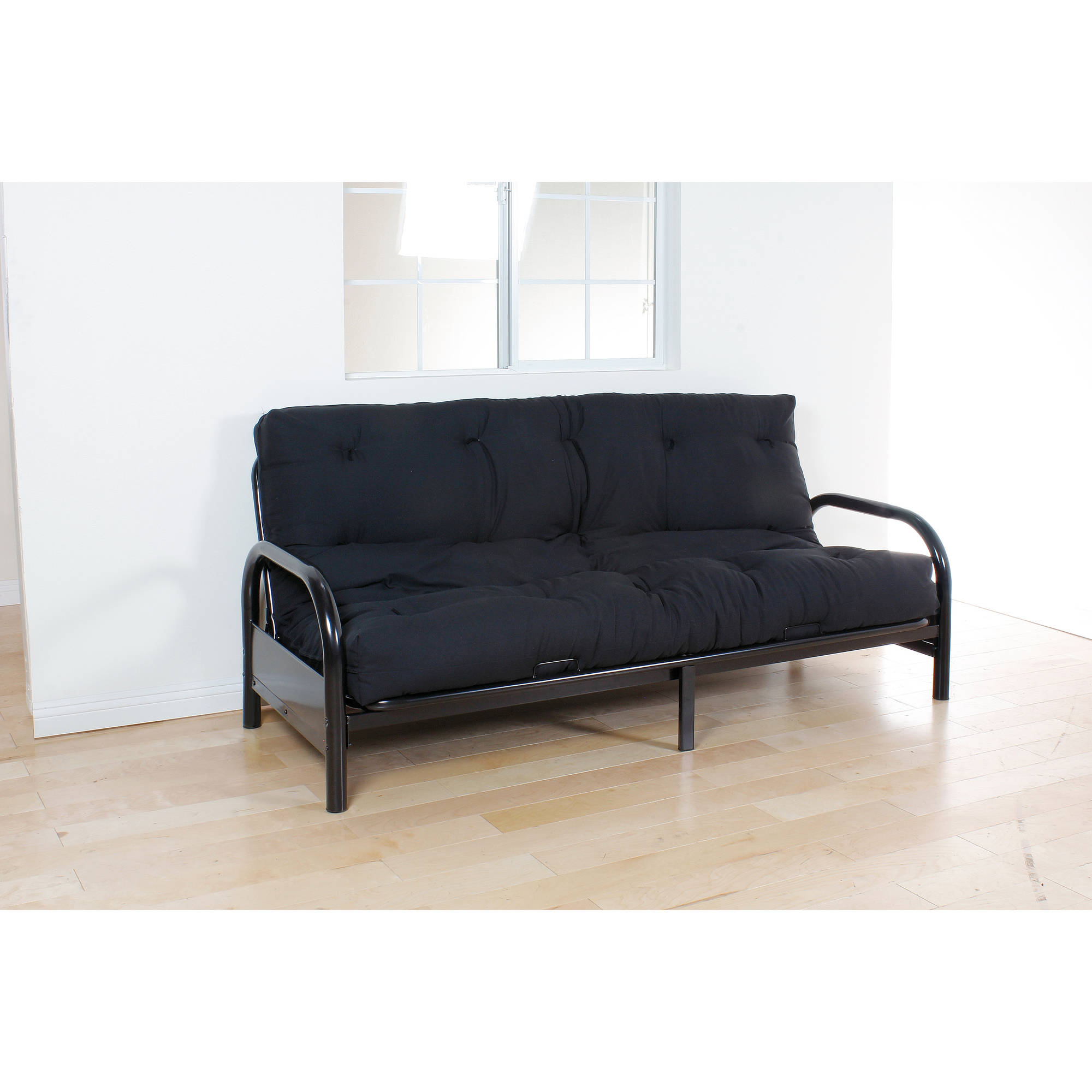 "Nabila 8"" Queen Futon Mattress, Black"