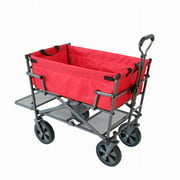Mac Sports Double Decker Collapsible Outdoor Yard Cart Utility Garden Wagon, Red