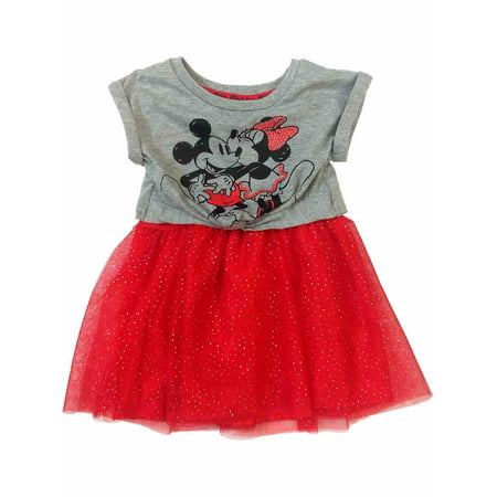 Disney Infant & Toddler Girls Gray & Red Minnie & Mickey Mouse Valentine - Minnie Mouse Dress Toddler
