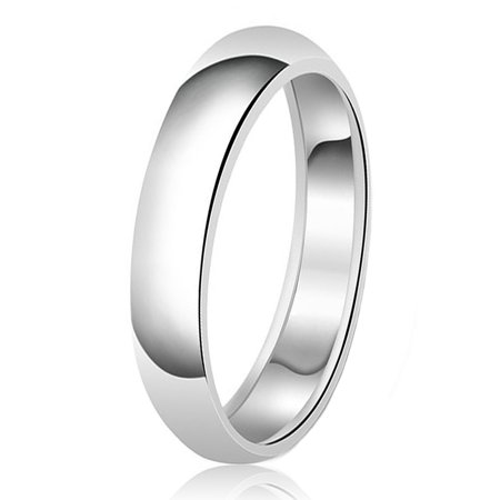 5mm Classic Sterling Silver Plain Wedding Band Ring