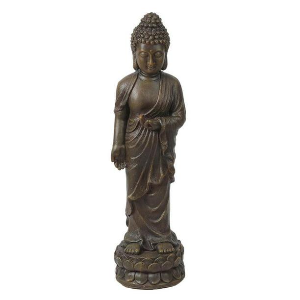 Luxen Home Brown Mgo Enlightened Standing Buddha Garden Statue Walmart Com Walmart Com