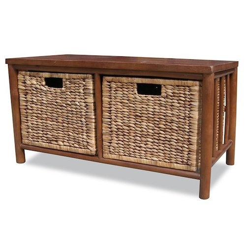 Heather Ann Creations Bamboo Storage Entryway Bench