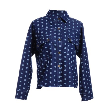 S/M Fit Blue All Over Polka Dots Pattern Flap Front Pockets Jackets - Flap Over Front Pocket