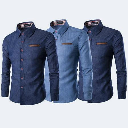 58f79ceff90 Urkutoba - Men s Luxury Casual Denim Shirt Long Sleeve Slim Fit Business  Dress Shirts TOPS - Walmart.com