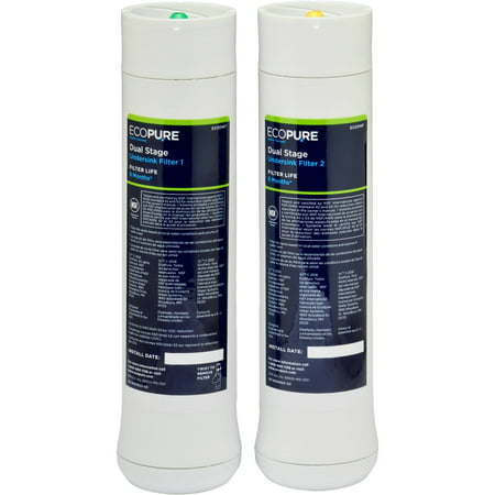 EcoPure ECODWF Dual Stage Water Filter, NSF Certified, Replacement Filter Set (Fits ECOP20 System)