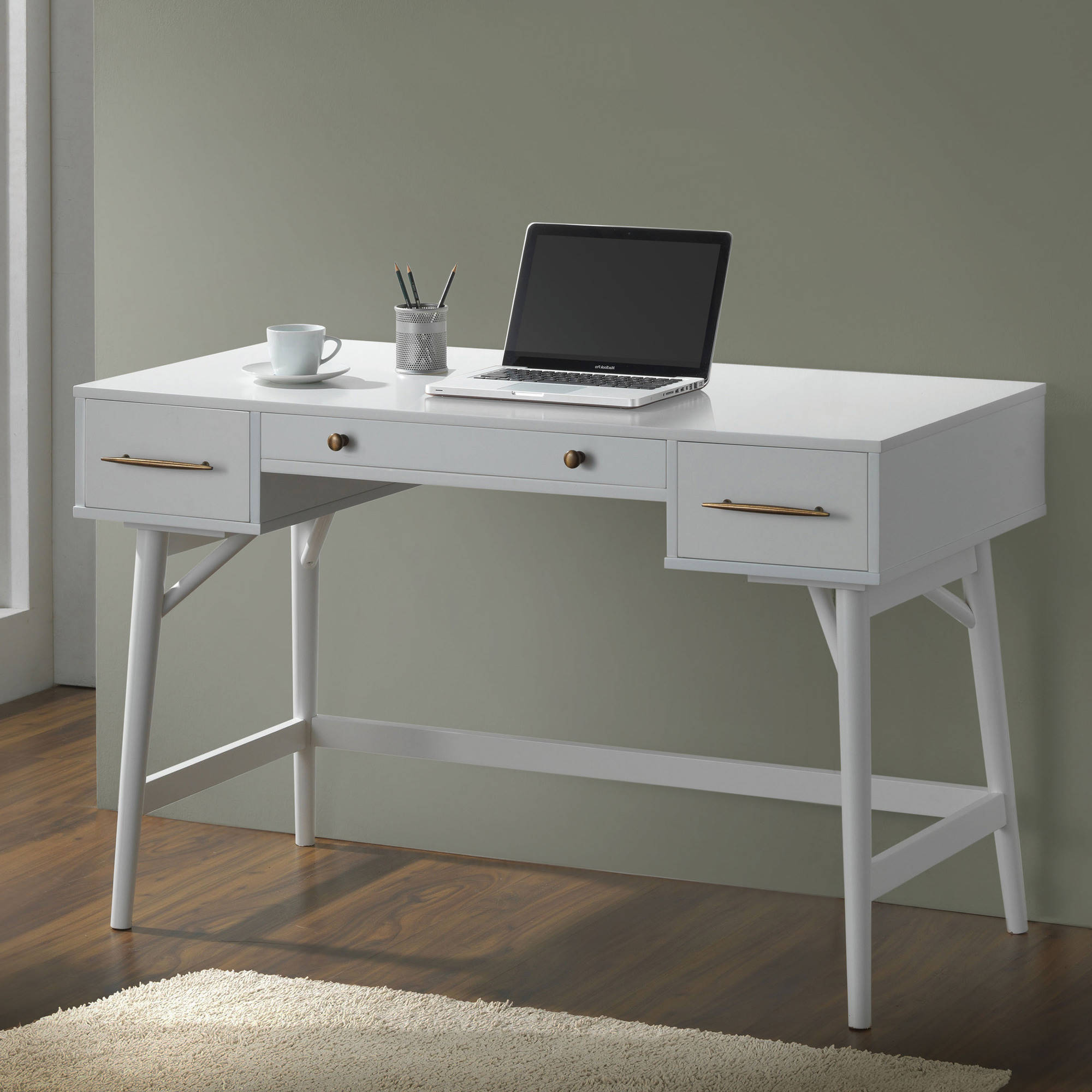 coaster mid century modern style writing desk in white walmart com