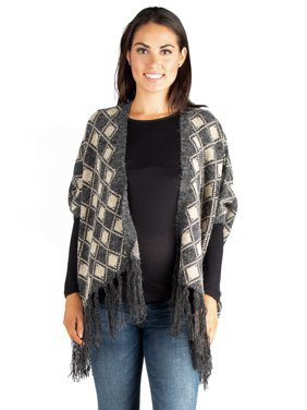 24seven Comfort Apparel Checkered Open Front Fringe Maternity Poncho Sweater