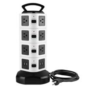 4 Layer Vertical Power Strip Socket Tower Surge Protector 10 AC Outlets 4 USB Ports 110-250V Mulit Plug Socket Charging Station 6ft Extension Cord (US Plug)