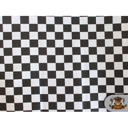 Polycotton Printed CHECKERED BLACK & WHITE Fabric / 60