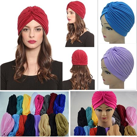 Obstce Women Stretchy Hat Turban Head Wrap Band Chemo Bandana Hijab Pleated Indian Cap