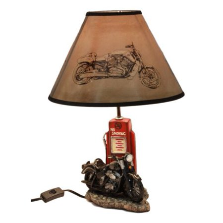 Ebros Vintage Old Fashioned Retro Black Motorcycle by Classic Gas Pump Desktop Table Lamp 19