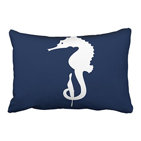 RYLABLUE Rectangl Throw Pillow Covers Nautical Popular Seahorse In Navy Blue Pillowcases Polyester 20 x 30 Inch With Hidden Zipper Home Sofa Cushion Decorative Pillowcase - image 1 of 1